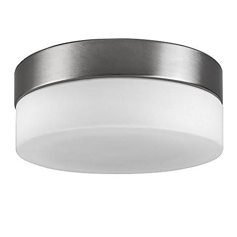 Modern Opal Frosted White Glass Round Robust Bulkhead Flush Ceiling Light