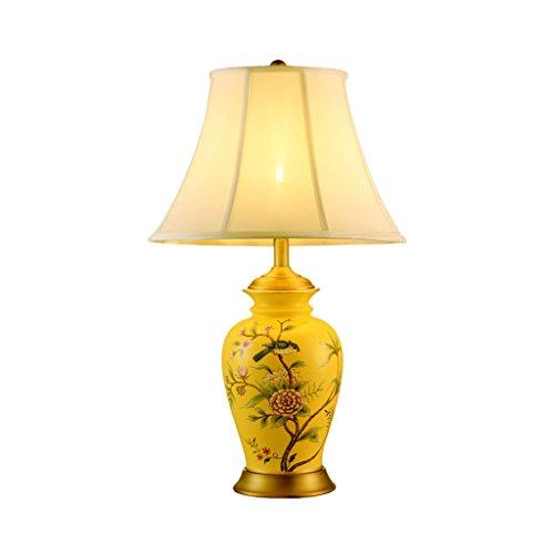 Brilliant firm Tisch- & Nachttischlampen Keramik Tischlampe chinesischen Schlafzimmer Nachttischlampe Jingdezhen chinesischen Stil Hotel Villa Bronze Lampe Antik A+++ (Color : Yellow, Size : 66cm) (Antike Lampe Firma)