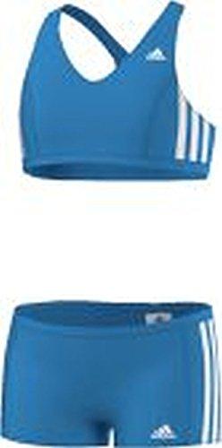 adidas Mädchen Bikini 3-Stripes 2 Teiler, Blau/Weiß, 104, AB6868