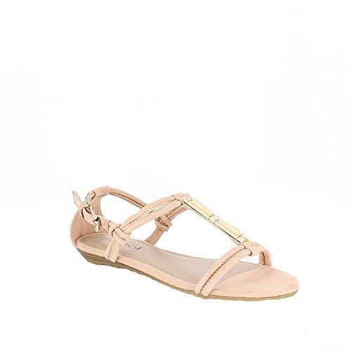Ideal Shoes–Sandale Effekt Wildleder Hania Rose