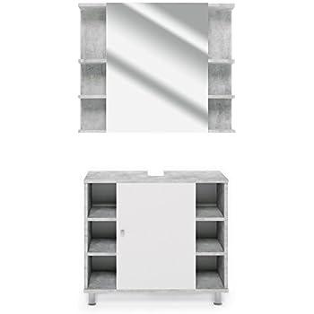 VICCO Badmöbel Set Badezimmermöbel FYNN Spiegel + Unterschrank +  Midischrank + Hochschrank (Set 1,