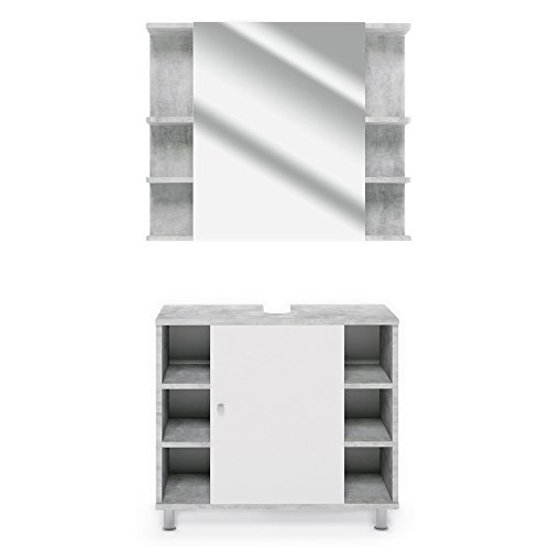 *VICCO Badmöbel Set Badezimmermöbel FYNN Spiegel + Unterschrank + Midischrank + Hochschrank (Set 1, Beton)*