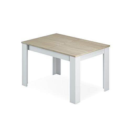 Habitdesign 0F4586 - Mesa de Comedor Extensible de 140 a 190cm, Mesa Salon Color Blanco Artik y Roble Canadian, Medidas: 90 Ancho x 140 Largo x 78 Altura