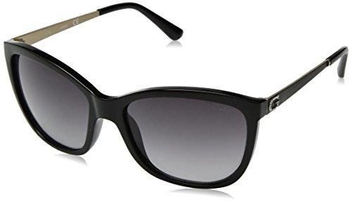 Guess Unisex-Erwachsene GU7444 01B 58 Sonnenbrille, Schwarz (Nero Lucido/Fumo Grad),