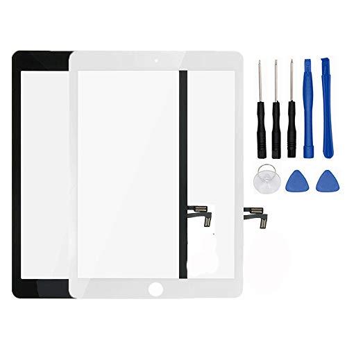 Kakusiga Air (5. Generation) Touchscreen Glas Digitizer Ersatz Home-Button Flex, Klebeband, Display-Schutzfolie, Reparatur-Set, A1822white