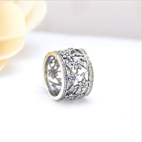 YOYOYAYA Ring 925 Sterling Silber Schmuck Hohl Blume Synthetischer Diamant Exquisite Dating Einfachheit Mädchen Geburtstag Gedenken Geschenk Hochzeit Romance Fantasy, 16.