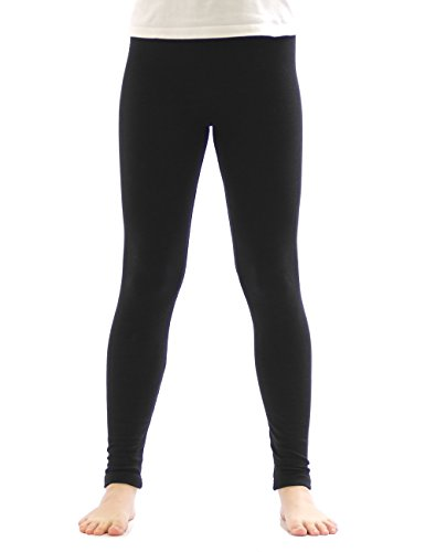 yeset Kinder Mädchen Thermo Leggings Fleece Hose lang Leggins aus Baumwolle schwarz 152