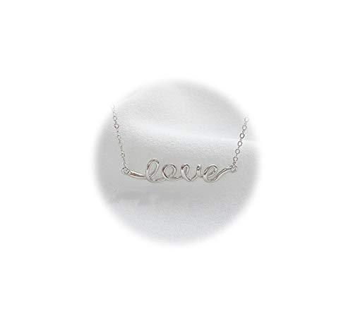 Silber Damen Anhänger Schlüsselbeinkette Love Initiale Halskette Silber ()
