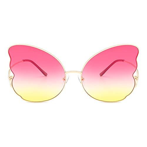 Lxc Schmetterling Form Gold Große Grenze Sonnenbrille Weibliche Persönlichkeit Metall Brille Trend Mode UV400 Schutz Puder Gelb Gradienten Objektiv Zeige Temperament