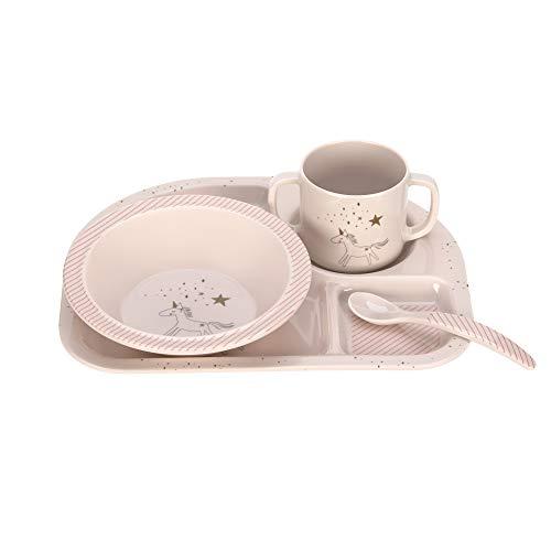 LÄSSIG Kindergeschirr Set Schüssel Tasse Löffel Menüteller rutschfest spülmaschinengeeignet Melamin/Dish Set More Magic Horse, pink