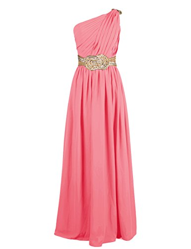 Dresstells Damen Ballkleider Abendkleid Chiffon One-Shoulder DT90613 Koralle