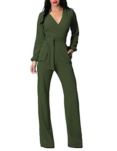 MODETREND Damen Jumpsuit mit Weitem Bein Hose V-Ausschnitt Locker Plus Größe Oversize Einteilig Suit Playsuit Body Anzug Grün