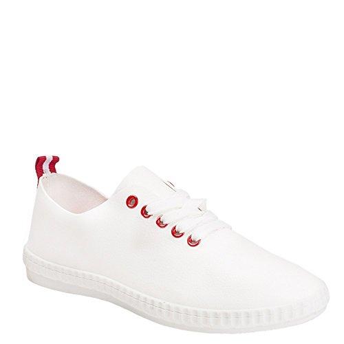 Ideal Shoes - Baskets basses en similicuir Meloe Rouge