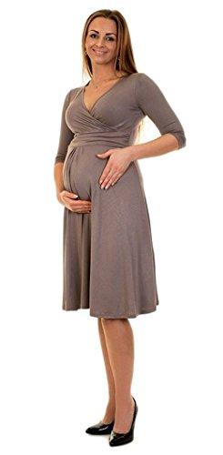 Divita 3in1 Stillkleid Umstandskleid Umstandsmode Kleid D25 (40/L, Cappuccino)