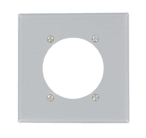 Leviton S701-GY 2-Gang Power Receptacle Wallplate, Flush Mount, Standard Size, Device Mount, Steel-Aluminum Finish by Leviton -