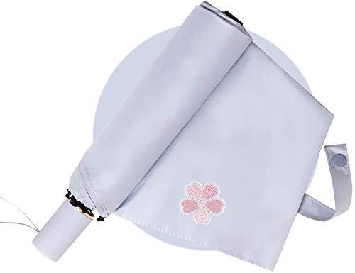 LIIYANN Embroidered Cherry Umbrella Sun Umbrella Sonnenschirm Female Rain Dual-Use-Regenschirm (Farbe: Grau)