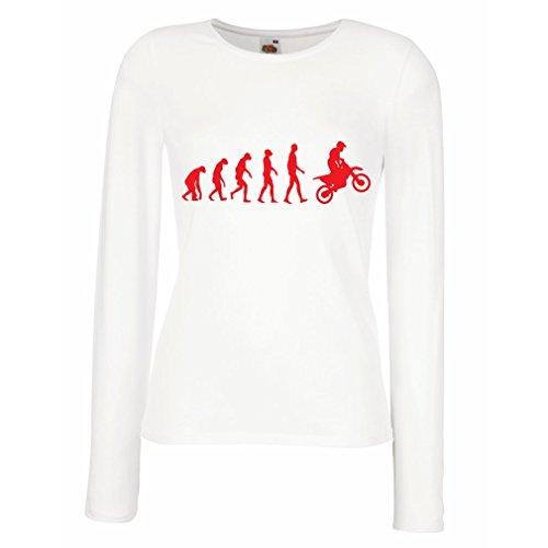 Weibliche langen Ärmeln T-Shirt Evolution motorcyclist! (X-Large Weiß Rote)