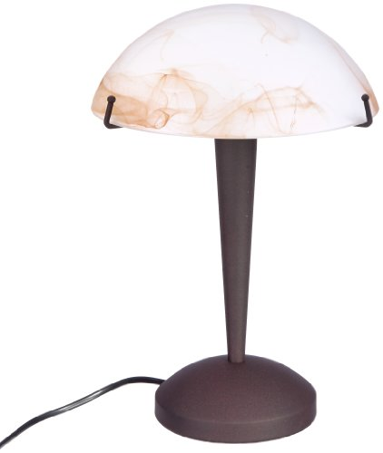 Leuchte Glas Tischleuchte (Reality Leuchten Tischleuchte Tischlampe / rostfarbig - Glas amberfarben / inklusive 3-Stufen TouchMe Dimmer / 1 x E14 max. 40W / ohne Leuchtmittel, Höhe - 33 cm R5925-24)