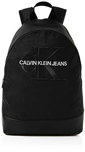 Calvin Klein Herren Monogram Nylon Cp Bp W/o Pocket Rucksack, Schwarz (Black), 15x45x30 cm
