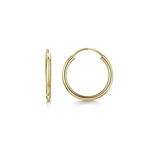 Amberta Aros en Oro Amarillo 9Kt - Pendientes de Aro Clásicos para Mu