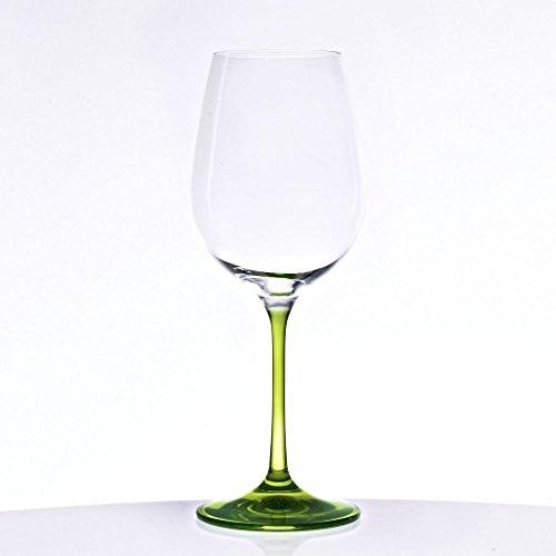 Weinkelch, Weinglas'RAINBOW' grün, H=22,5cm, 400ml, hochwertiges Glas, moderner Style (GERMAN...