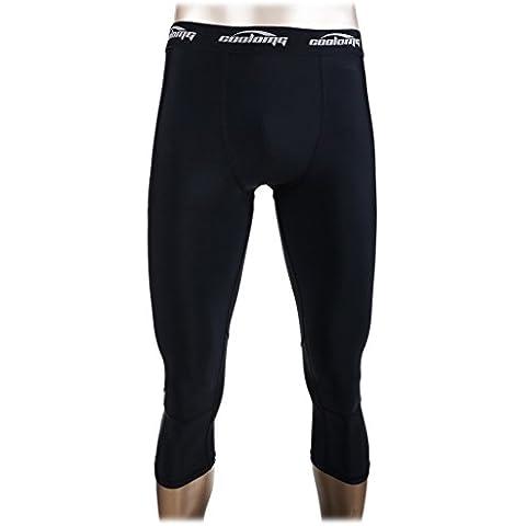 COOLOMG compresión Correr 3/4 Medias Pantalones Capri polainas de secado rápido para los hombres Jóvenes Boy Negro L