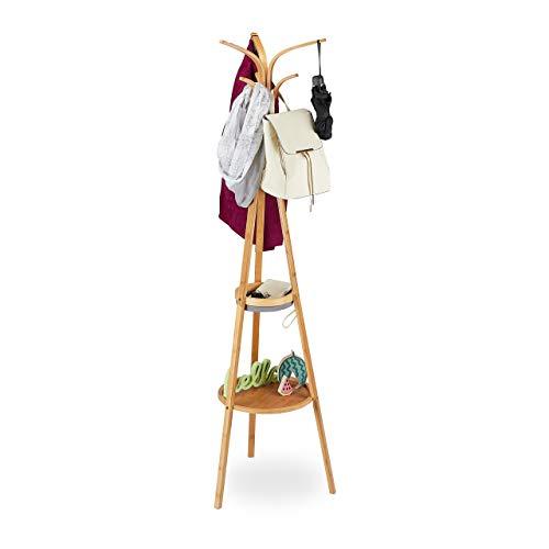 Relaxdays Garderobenständer, moderner Jackenständer aus Bambus, 2 Ablagen, 6 Haken, Baum Design, 178 x 50 x 50 cm, Natur, Polyester