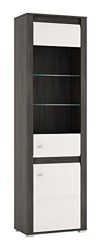 Wohnzimmer komplett 1662021 Wohnwand 5-teilig schwarzkiefer / weiß Hochglanz - 2