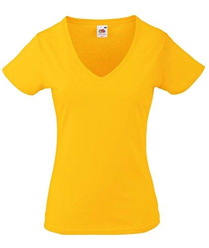 Lady-Fit Valueweight V-Neck T-Shirt von Fruit of the Loom Sunflowergelb XXL