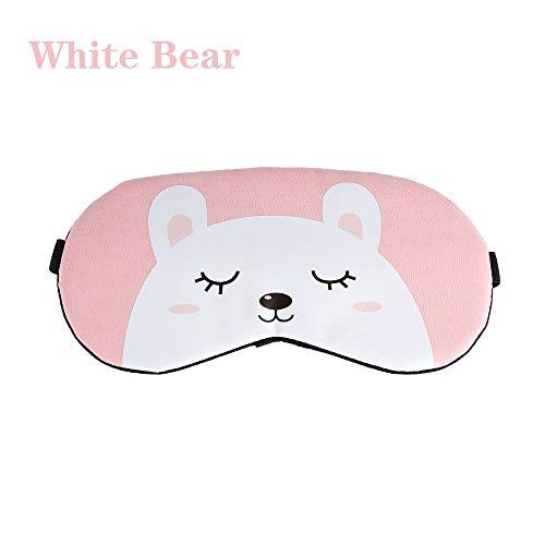 Stilvolle Niedliche Weiche Augenmaske Komfortable Cartoon Tier Schlaf Unterstützen Augenmaske Abdeckung Augenklappen Ruhe Gesunde Augenpflege Weißer Bär (Bio-health-bars)