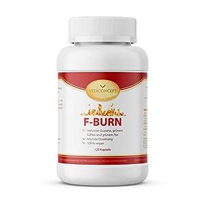 F-BURN * 120 Kapseln * Guarana, grüne Kaffeebohnen, grüner Tee, schwarzer Pfeffer * Fettverbrennung & gesteigerter Kalorienverbrauch * – VITACONCEPT