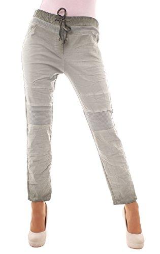 Easy Young Fashion Damen Hose Sweatpants Freizeithose im Biker-Style mit 7/8 Bein onesize Khaki
