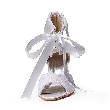 Best 4U® Da donna Scarpe Di pizzo Seta Tulle Primavera Estate Decolleté scarpe da sposa Basso Punta aperta Fibbia per Matrimonio Serata e festa white