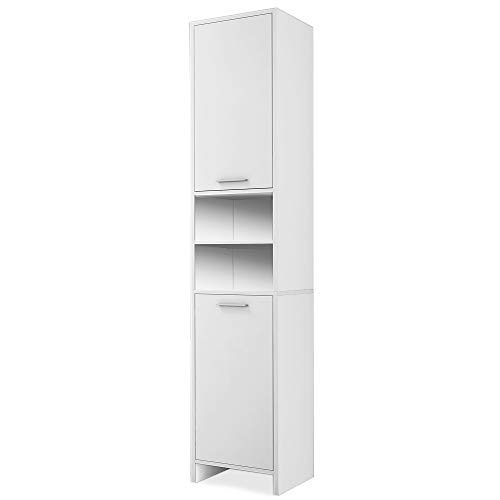 Deuba ® Armario de baño alto   Mueble de baño   Color blanco   2 puertas   2 estantes   Ofrece mucho espacio   185 x 30 x 30 cm  