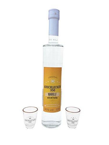 Preisvergleich Produktbild Arschlecken 350 Marillenschnaps mit 2 Arschlecken350 Gläsern, 0,5 l, 36% vol, original by Sepp Bumsinger,Marille kult Partygeschenk