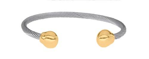 Magnetschmuck, SABONA OF LONDON Unisex Magnetarmreif aus allergenfreiem Edelstahl, vergoldete Abschlusskugeln mit 2 SmCo Magneten mit 1200 Gauß, Markenprodukt, S/M: Handgelenksumfang von 16,5-17,5 cm