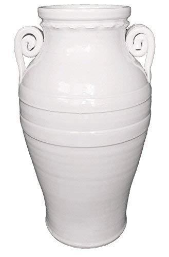 Portaombrelli/giara in ceramica di vietri in colore bianco, fatto e dipinto a mano - made in italy di vaserie rinaldi; altezza cm. 50, diametro cm. 30.