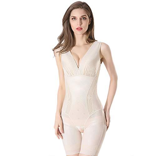 QJKai Frauen-Spitze mit V-Ausschnitt Body Shaper Lightweigh Firm Bauch-Steuer Stretchy Formwäsche Taille Shaper postnatalen Ganzkörper-dünnerer Bodysuit (Color : A, Size : L) -