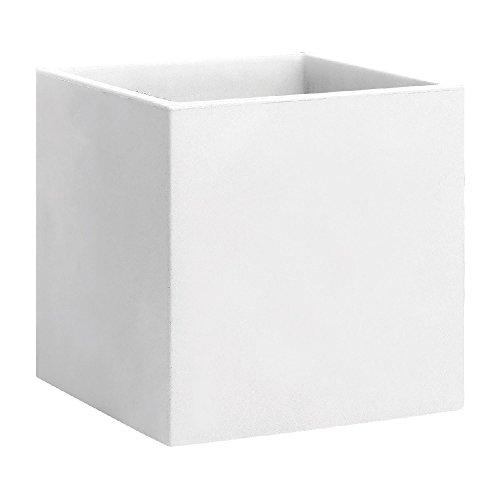 hydroflora 63002800 vaso quadrato Nicoli Momus 35 x 35 x 35 cm, colore bianco opaco