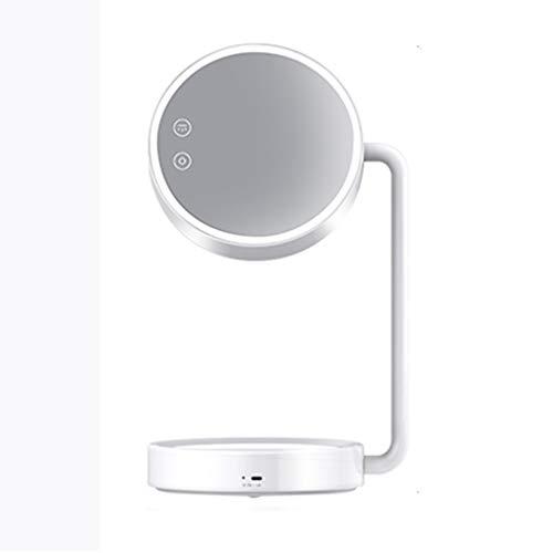 Zhizaibide LED Kosmetikspiegel Lampe Spiegel Desktop Princess Spiegelfüllung Lichtspiegel Einzelspiegel Geschenk (Color : White, Size : 18 * 18 * 36CM)