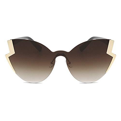 New Metall Persönlichkeit Sonnenbrille Damen Retro Cat Eye Brille Europa Und Die Vereinigten Staaten Trend Mode Gold Rahmen Tee Farbverlauf Objektiv Brille