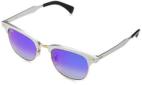 Ray Ban Unisex-Erwachsene Sonnenbrille Clubmaster Aluminum Mehrfarbig (Gestell: Silber,Gläser: Blauverlauf 137/7Q), Medium (Herstellergröße: 51)