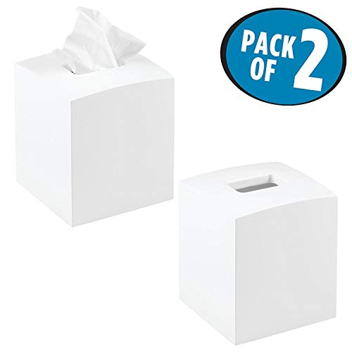 Mdesign porta fazzoletti quadrato – pratico tissue box per fazzoletti per il bagno – porta salviette bagno con un design moderno & elegante – colore: bianco - set da 2