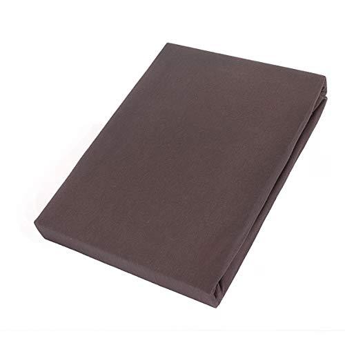 Etérea Comfort Kinder Jersey Spannbettlaken - in viele Farben und alle Größen - 100% Baumwolle, Dunkel Braun 60x120-70x140 cm - 2