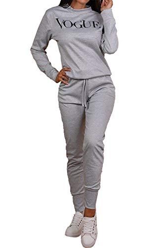 Islander Fashions Ladies Vogue Print 2 St�ck Loungewear Trainingsanzug Damen Top und Jogger Co Ord Set Silber klein/mittel