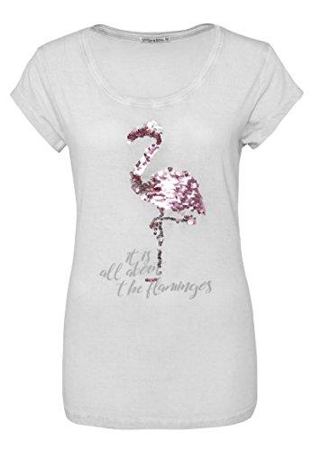 Stitch & Soul Damen T-Shirt mit Wendepailletten Flamingo | Leichtes Basic Shirt mit Print Light-Grey M (Damen Flamingo)