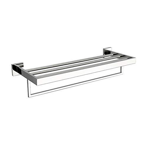 MAFYU Silber Quadrat 304 Edelstahl Wandmontage Bad Doppel Rack Verdickten Basis Handtuchregal Lagerung Schiene R Ack