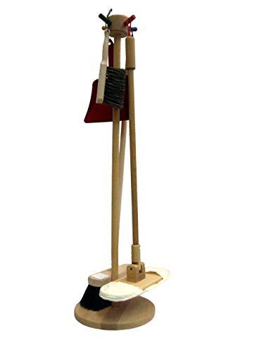 Putzständer aus Holz, Kehrset, Besen, Handfeger mit Kehrschaufel und Mopp, Putzset
