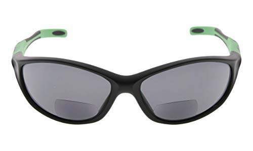 Eyekepper TR90 Rahmen Bifokale Sport Sonnenbrille Baseball Laufen Angeln Fahren Golf Softball Wandern Sonne Leser (Schwarzer Rahmen grüner Tempel, 1.75)