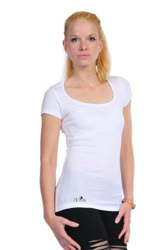 3 Elfen - T-Shirt Top - Col Rond - Yin Yang fée Blanc